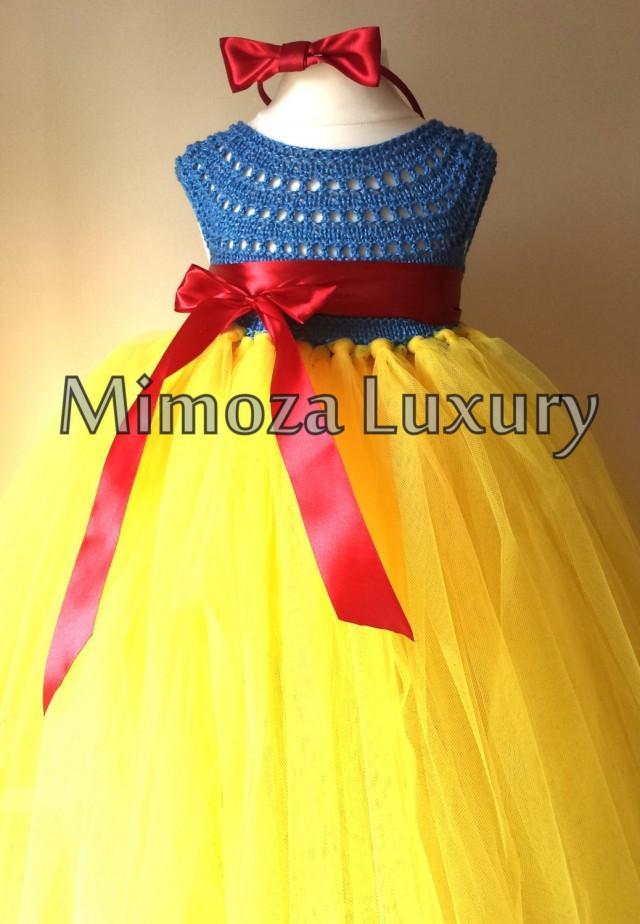 Free Crochet Pattern For Snow White Dress : Snow White Luxury Princess Dress, Flower Girl Dress, Tutu ...