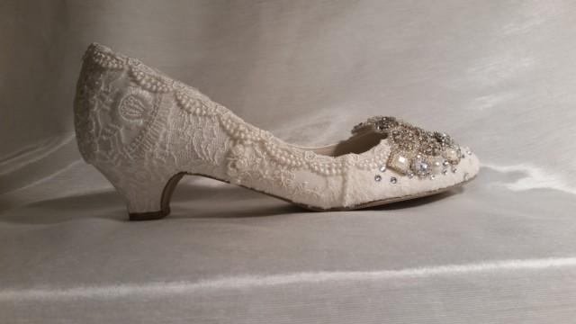 Low Heel Wedding Shoes 1 5 8 Inch Heels Vintage Lace Bridal Shoes Sparkling Wedding