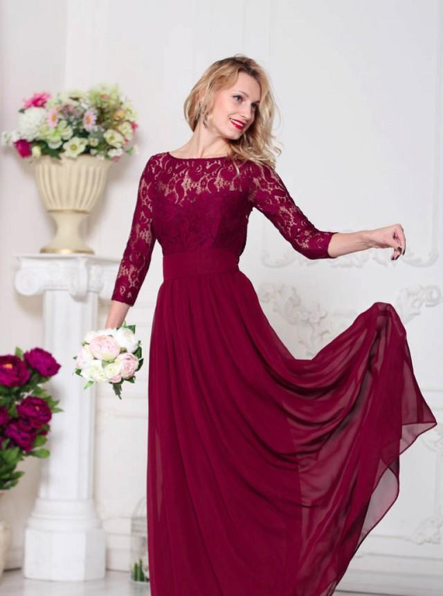 Burgundy bridesmaid dress marsala bridesmaid dress wine for Wine colored wedding dresses