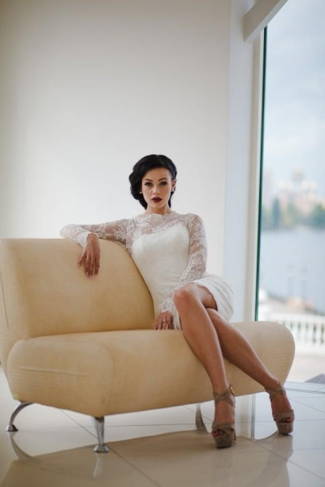 Fitted style short wedding dress with long lace sleeves for Short fitted wedding dresses