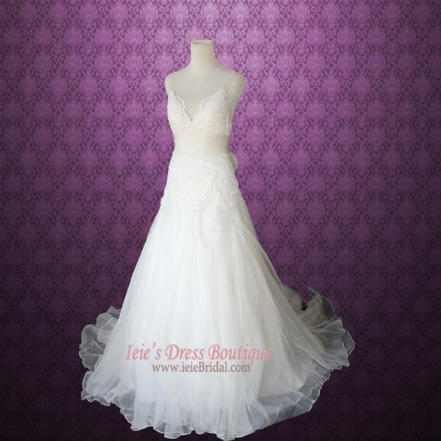 Cross back organza v neck a line lace wedding dress for Cross back wedding dress