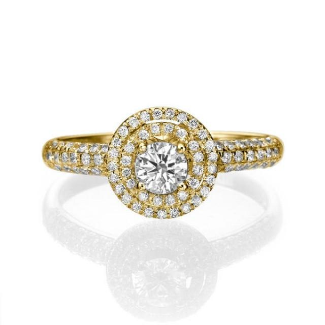 Halo Engagement Ring 14K Gold Ring Double Halo Ring Setting 0 85 TCW Diamo
