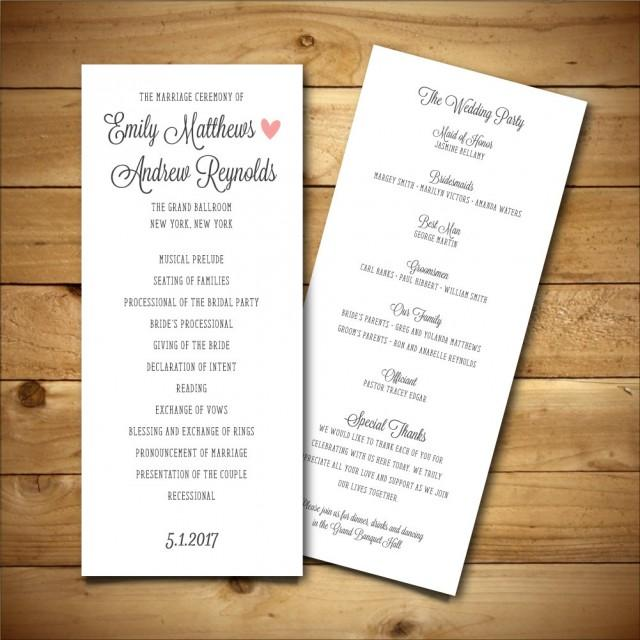 printable wedding program template dark grey pink white instant download editable ms. Black Bedroom Furniture Sets. Home Design Ideas