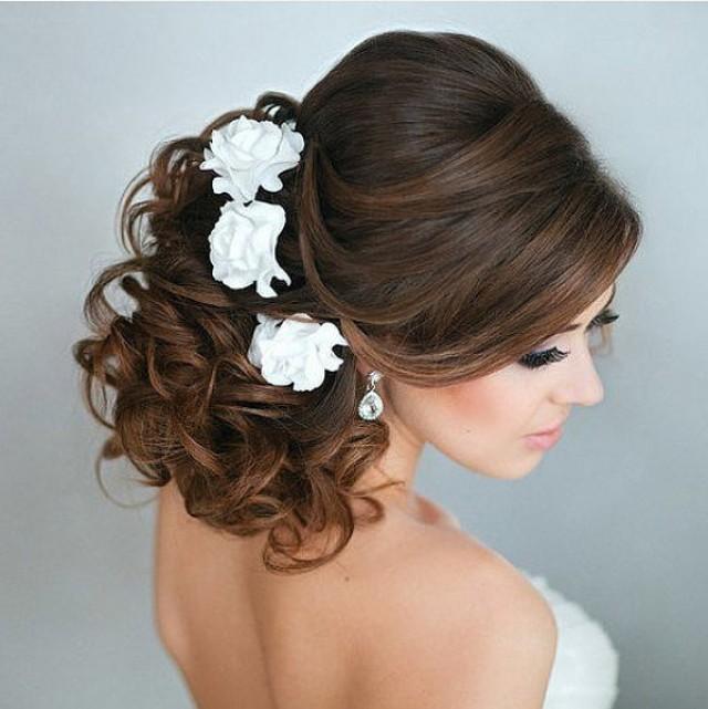 wedding photo - Bridal hair flower roses - set of 3, Wedding hair flower, Bridal flower pins, Bridal flower clip, rose hair clip, Clay flower, Bridal rose