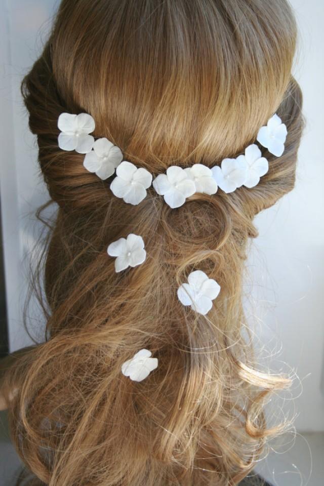 wedding photo - White hydrangea - bridal hair flower, Wedding hair flower, Bridal flower hair clip, Bridal flower pin, Wedding hair pins, Flower hair pins