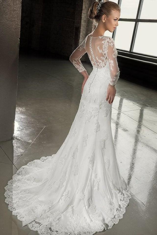 Lace wedding dress long sleeves wedding by for Long sleeve lace wedding dresses