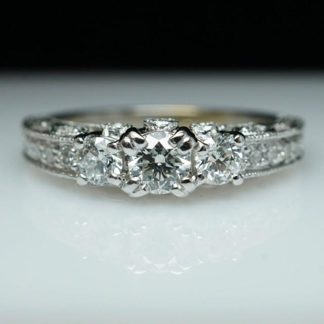 Filigree Diamond Engagement Ring 3 Stone Vintage Engagement Ring Estate Piece Side Setting