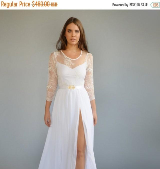 On sale lace wedding dress mixed lace top wedding dress for Wedding dresses with sleeves for sale