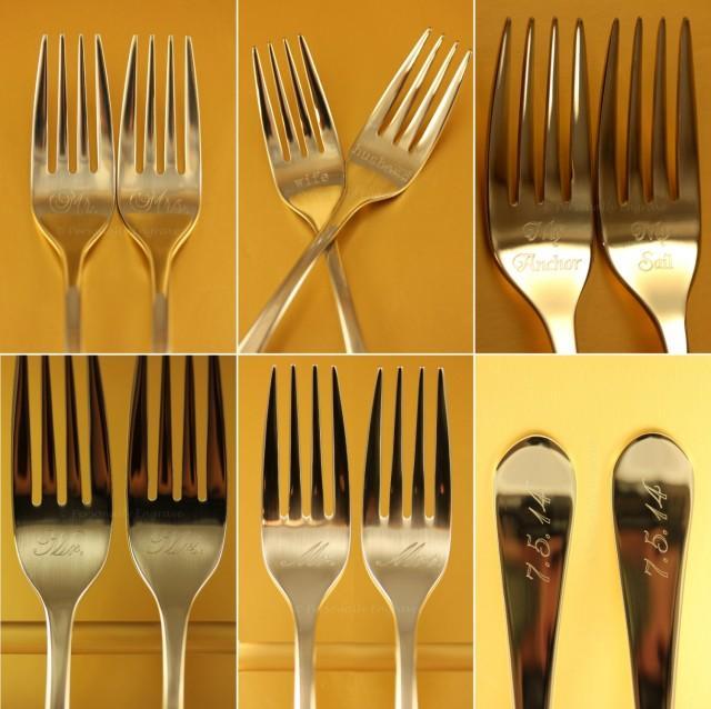 Engraved Wedding Cake Forks