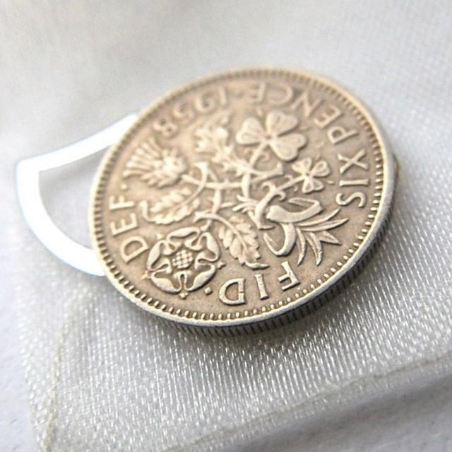 6 Pence Wedding Gift : Wedding Sixpence Lucky Charm Something Blue Bridal Gift #2419395 ...