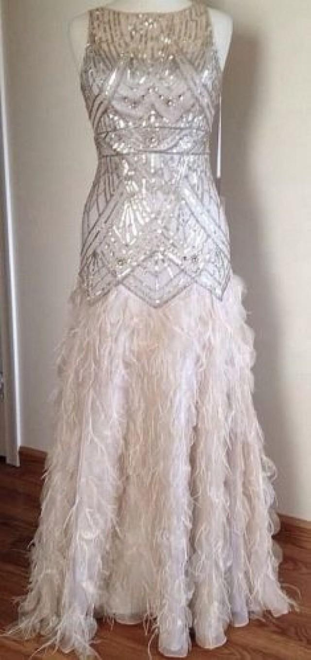 Sue wong gatsby feather gown dress pageant wedding prom for Silver ball gown wedding dresses