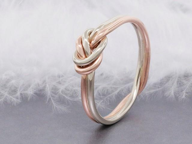 14k solid rose gold love knot ring double strand nautical