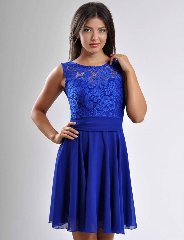 Cobalt Blue Bridesmaid Mini Dress -Evening Wedding Dress Lace ...