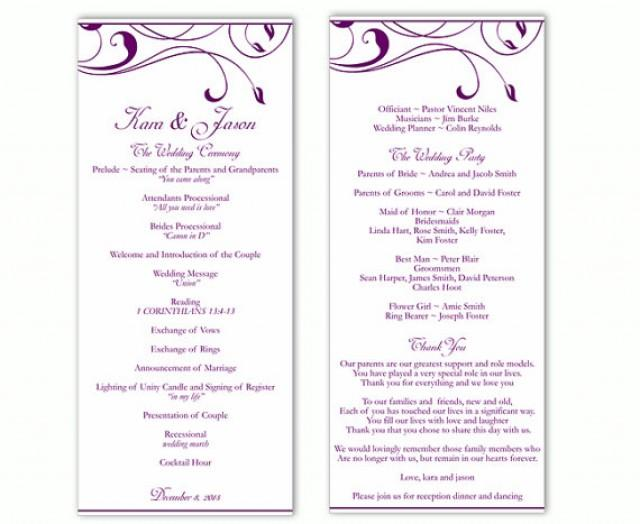 wedding program template diy editable word file instant download program eggplant program purple. Black Bedroom Furniture Sets. Home Design Ideas