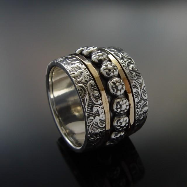 floral wide silver gold band sterling silver and gold