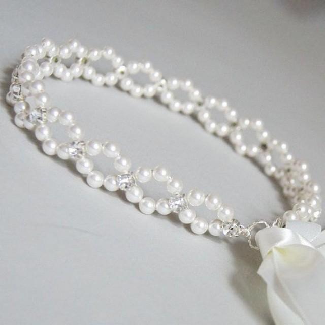 wedding photo - Bridal pearl crown Pearl tiara Bridal crown Wedding pearl crown Bridal pearl headpiece Bridal pearl tiara Wedding tiara Wedding crown