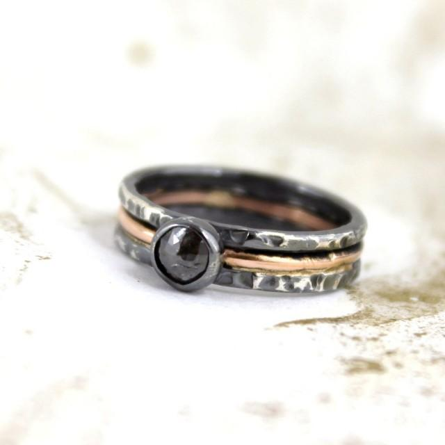 Rustic Rose Cut Diamond Ring 14K Pink Gold And Black Sterling Silver Ring
