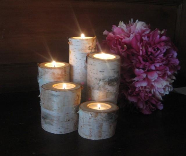 Candle Holder Centerpiece For Weddings : Birch bark log tea light candle holders for your wedding