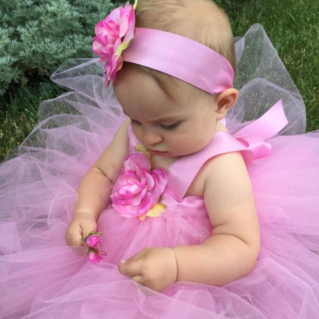 Flower Girl Dress Tutu Pink Tutu Baby Blessing Dress Girls