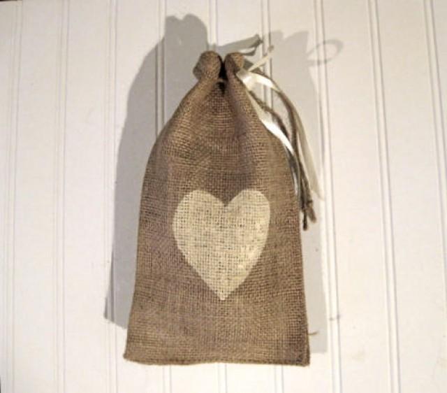 Burlap heart favor bags 6 x10 love shabby chic for Decorative burlap bags