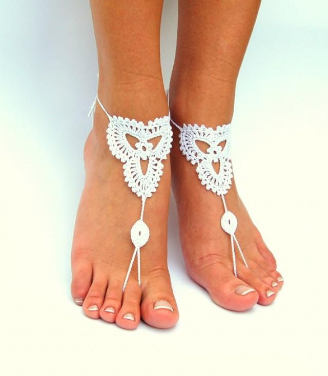 wedding photo - Crochet Barefoot Sandals, Beach wedding shoes, Wedding Accessory, Nude shoes, Anklet, Foot Jewelry