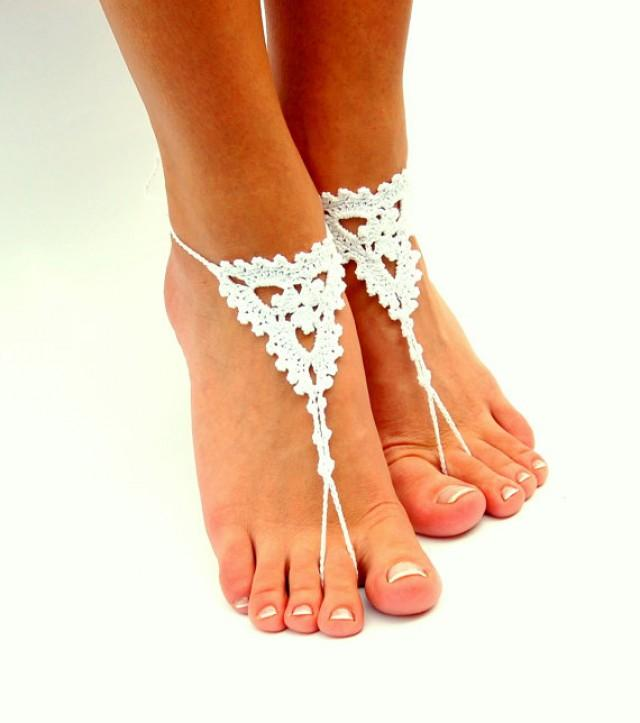 wedding photo - Barefoot Sandals, Beach wedding shoes, Wedding Accessory, Nude shoes, Anklet, Foot Jewelry