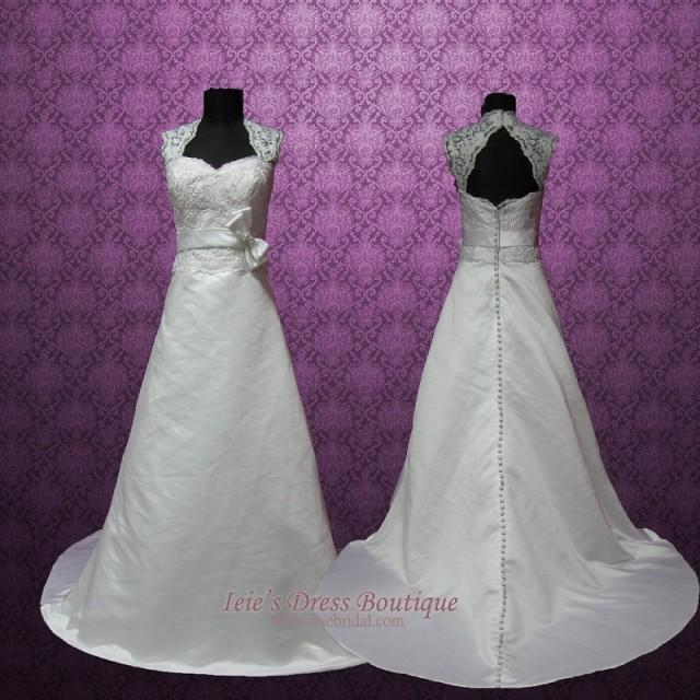 Lace Wedding Dress With Cap Sleeves Style D1919 : Vintage style cap sleeves keyhole a line lace wedding dress