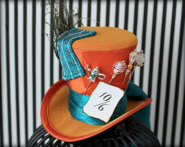 Mad hatter hat mini top hat fascinator mini hat top for How to decorate a hat for a tea party