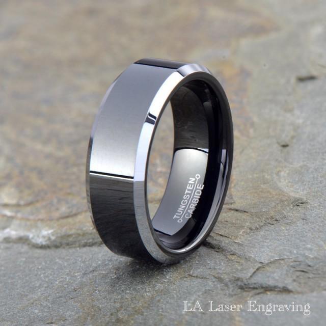 Tungsten Wedding Band Men Ring Black