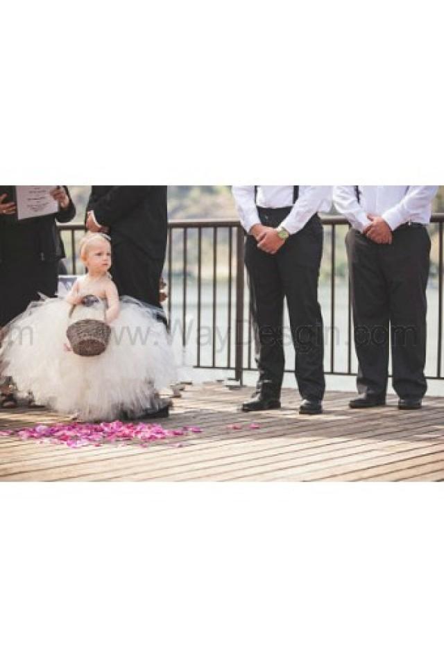 wedding photo - Flower girl dress Ivory tutu dress, chiffton roses, baby tutu dress, toddler tutu dress,newborn
