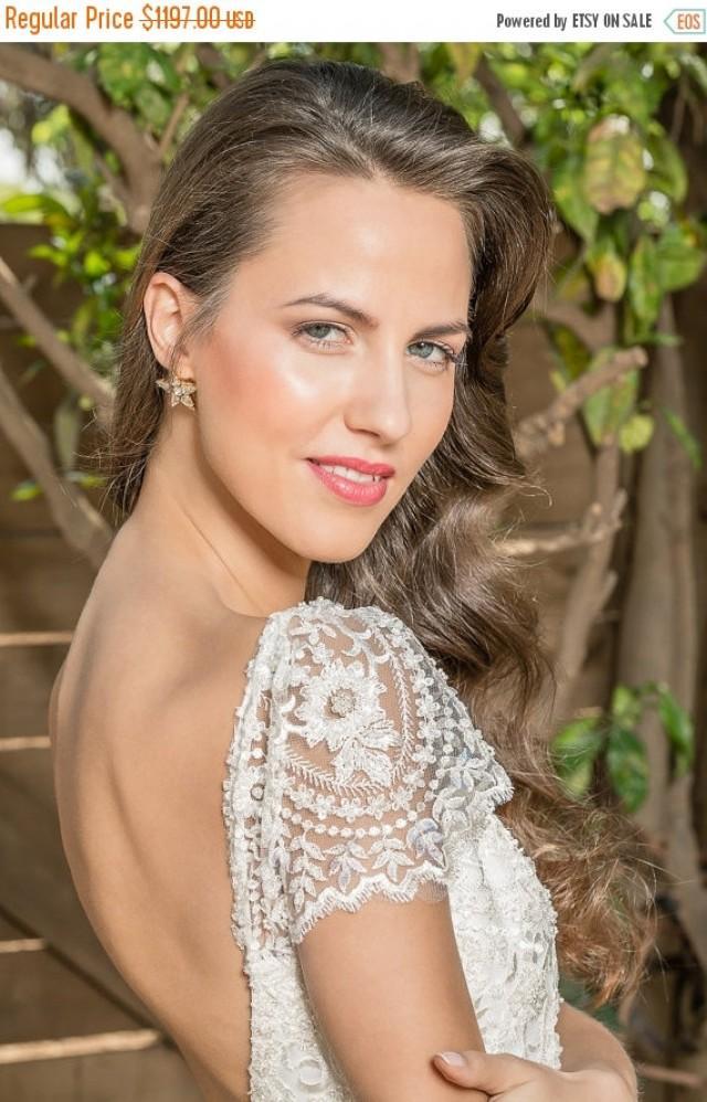 Cyber monday sale low back lace wedding dress with sleeves for Low back wedding dresses for sale