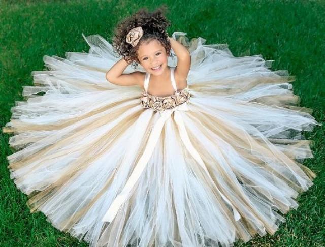 Ivory Flower Girl Dress, Gold, Champagne Flower Girl Tutu
