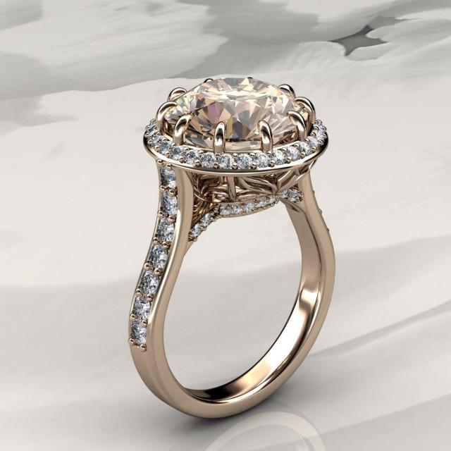 Morganite Halo Engagement Ring With Diamonds In Rose Gold Halo Engagement Ring Available In