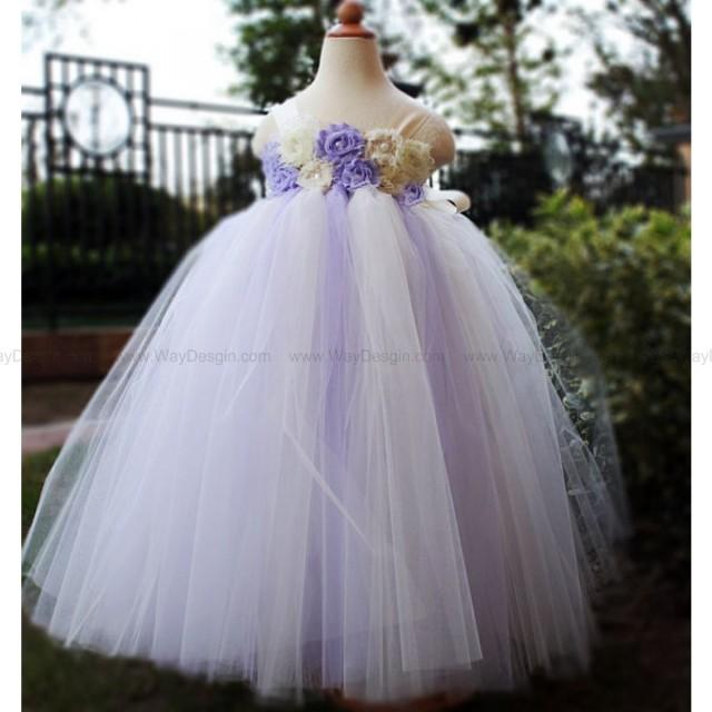 wedding photo - Lilac Flower Girl Dress Party dresses tutu dress baby dress toddler birthday dress wedding dress
