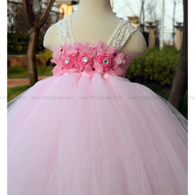 wedding photo - Flower Girl Dress Rose Pink lace tutu dress baby dress toddler birthday dress wedding dress Newborn