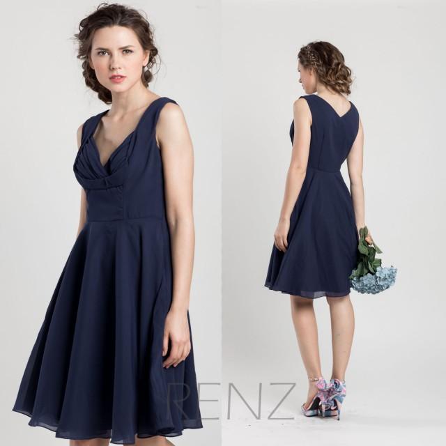 2015 Navy Blue Bridesmaid Dress Short Wedding Dress Chiffon Party Dress Fo