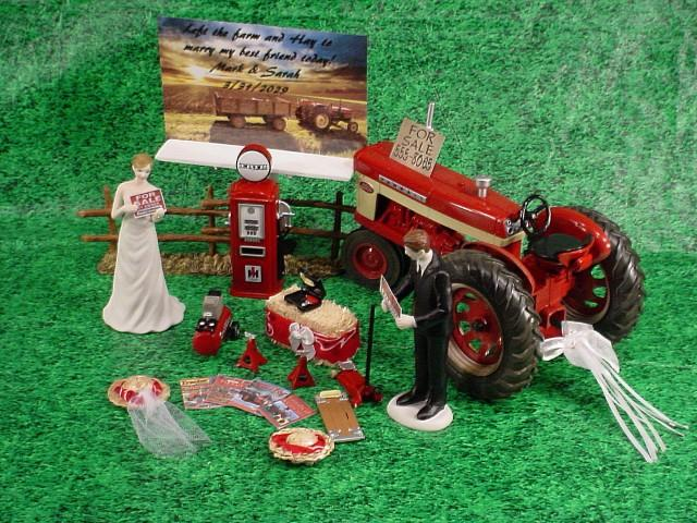 Red Tractor Wedding Cake Topper