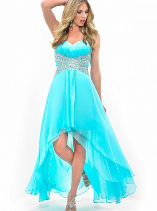 wedding photo - A-line Sweetheart Natural High-low Sleeveless Beading Ruched Zipper Up Chiffon Aqua Prom / Homecoming / Cocktail Dresses By Splash H115