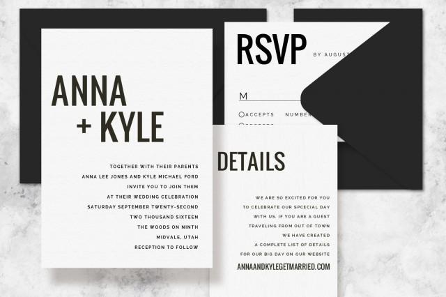 Modern Wording For Wedding Invitations: Modern Minimalist Printable Wedding Invitation Set