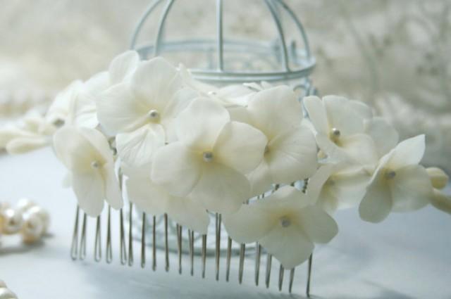 wedding photo - Hydrangea comb, Bridal flower headpiece, Bridal flower comb, Bridal hair flower, Wedding flower comb, Bridal hair accessories