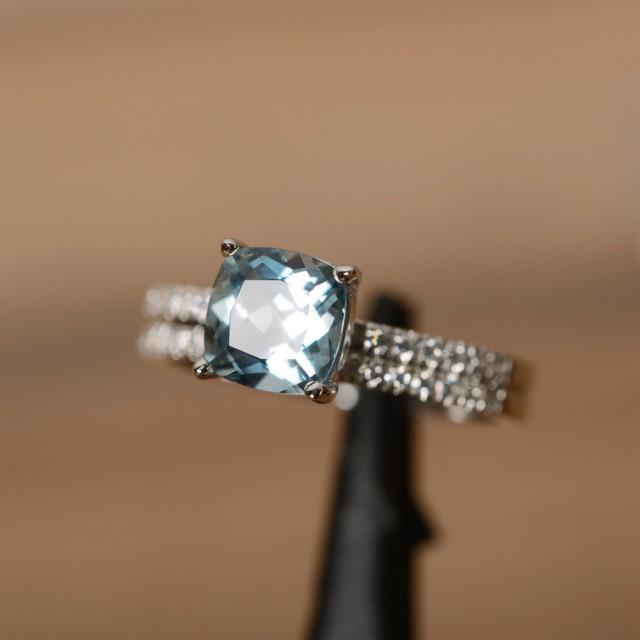 cushion cut aquamarine engagement ring march birthstone