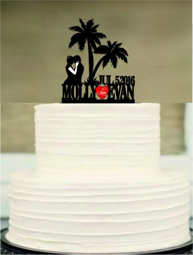 wedding photo - rustic wedding cake topper,silhouette personalized wedding cake topper, mr and mrs cake topper,beach cake topper,funny wedding cake topper