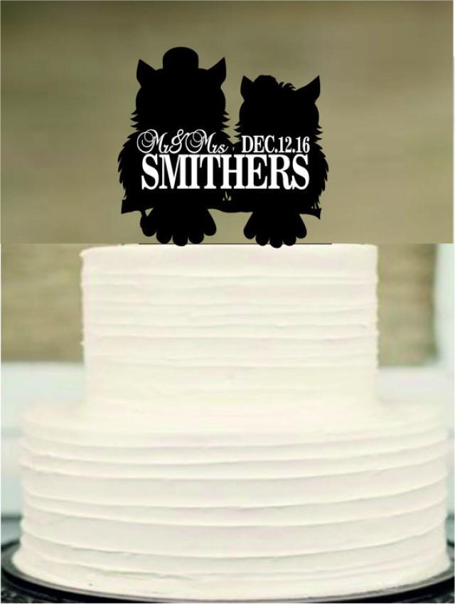 wedding photo - owl cake topper,silhouette personalized wedding cake topper, mr and mrs wedding cake topper,rustic wedding cake topper,funny cake topper