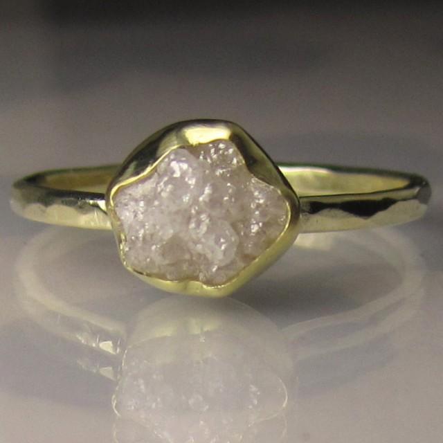 White Raw Diamond Engagement Ring, 18k And 14k Gold, Rough ...