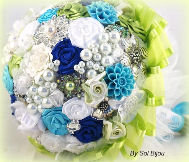 Lime Green And Blue Bouquet 42