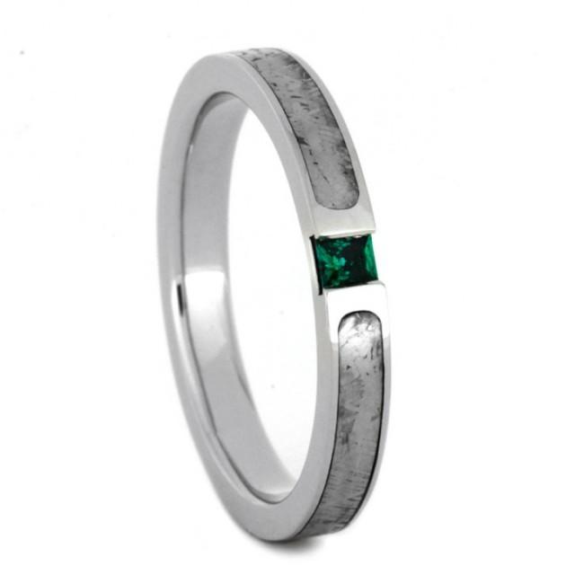 wedding photo - Palladium Engagement Ring with Meteorite and Princess Cut Emerald