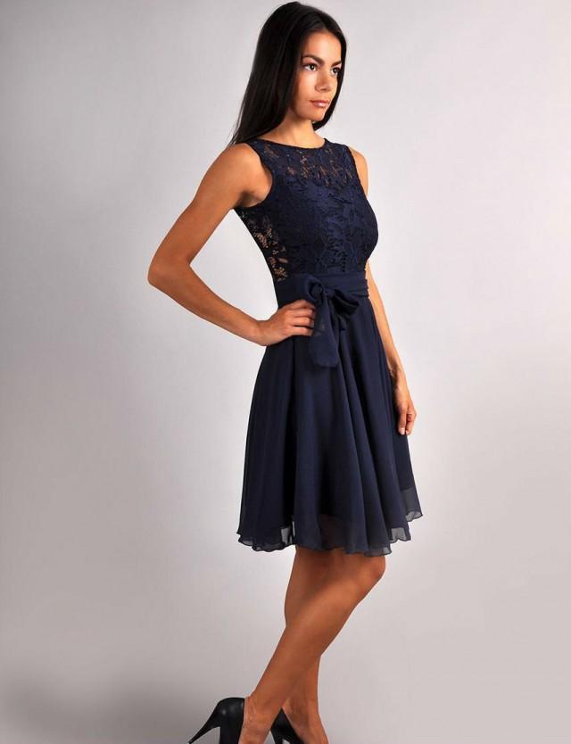 Bridesmaid navy blue dress navy blue wedding sleeveless for Navy evening dresses for weddings