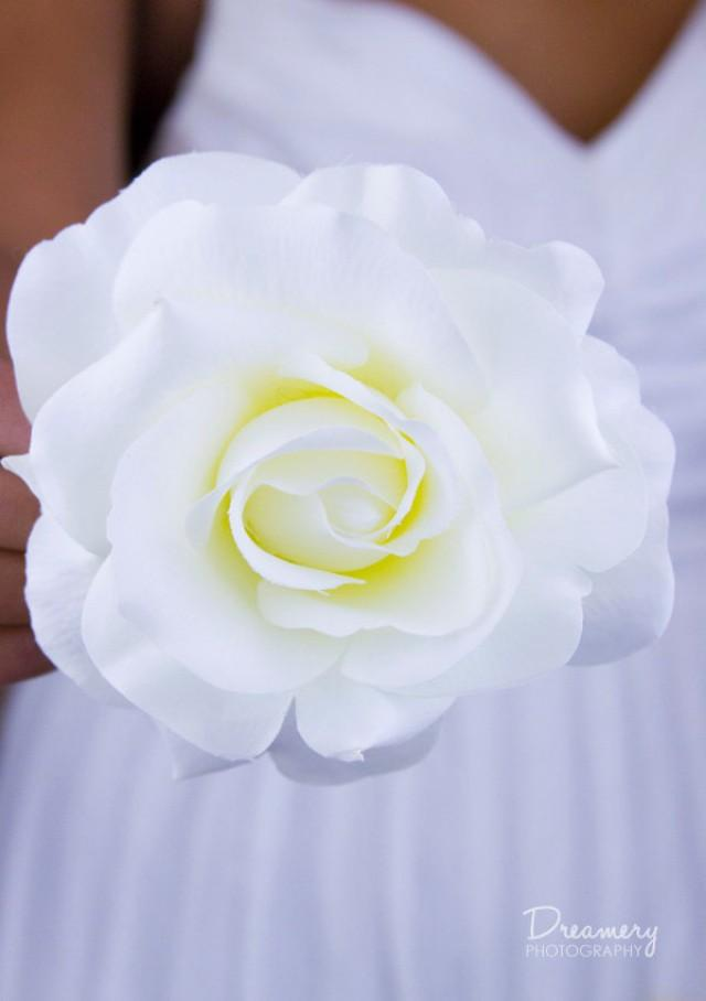 Large Pure White Rose Hair Clip Realistic Looking Silk
