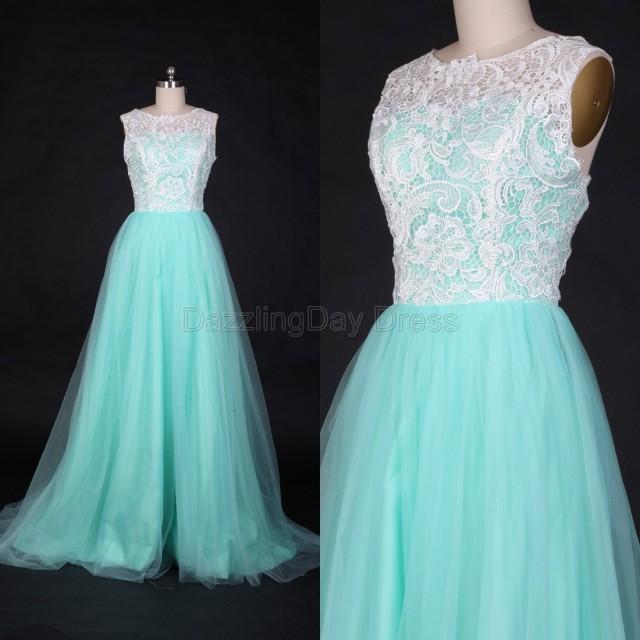Mint Bridesmaid Dress Long Tulle Prom Dresses Lace Wedding Dress Fashion Evening Dress Party