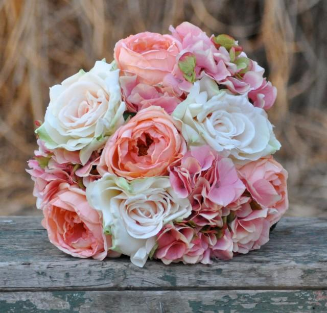 Coral And Pink Wedding Flowers: Coral Rose, Blush Rose And Pink Hydrangea Wedding Bouquet